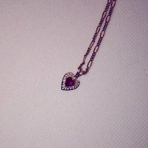 💛 10k Yellow Gold Garnet Heart Pendant w/GF chain
